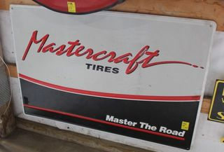 Mastercraft Tires single sided tin sign, 30