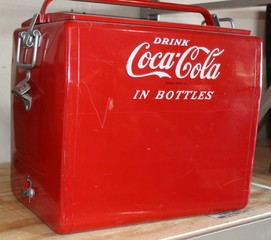 Coca Cola repainted metal cooler