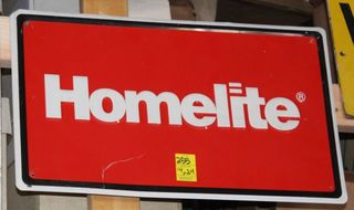 Homelite single sided tin sign, 14