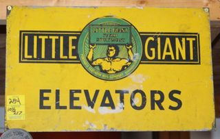 Little Giant Elevators single sided tin sign, 10.5