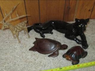 Ceramic Panther, (2) Turtles (Wood)...
