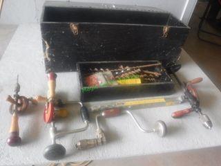 Assorted Hand Wood Drills, Drill Bits & Box