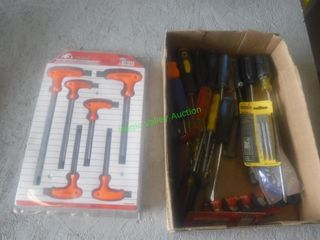 Assorted Screwdrivers & Hex Screwdriver Set