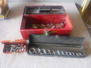 Metal Tool Box- Assorted Sockets