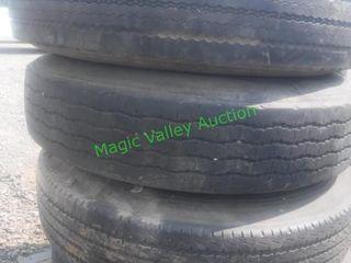 4 Semi Tires & Wheels- 10 Hole Budd 11R 24.5