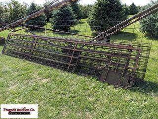 (9) misc gates, (2) 15.5' steel hog gate, (6) 16'