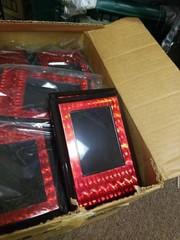 Red plastic plaques