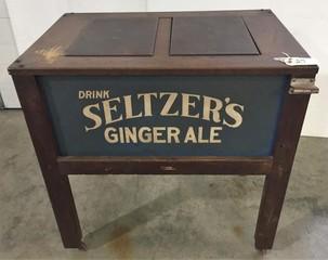 Wooden SELTZER'S Drink Cooler with Bottle Opener