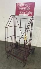 Early Coca Cola Metal Display Rack on Wheels
