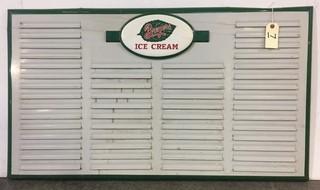 Metal 1940s Breyers Ice Cream Flavor Strip Sign