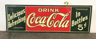 NOS 1960s Coke Sign SC with Embossed Lettering