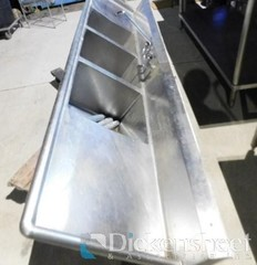 3- compartment stainless steel sink with faucet -