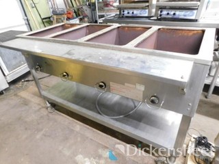 Duke Aerohot 4-bay steam table on wheels. Located