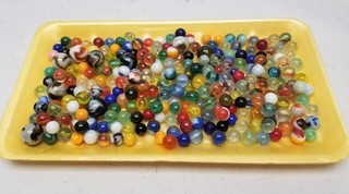 Vintage Glass Marbles in Tin Container
