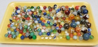 Vintage Glass Marbles in Tin Containers