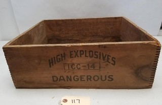 "Wooden ""Burton Explosives"" Crate"