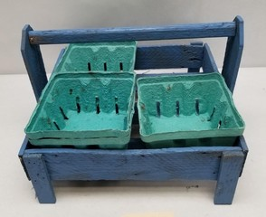 Primitive Blue Painted Berry Basket