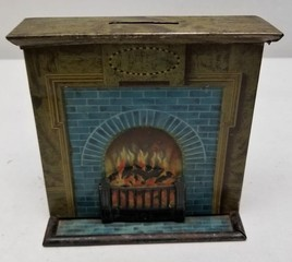 Early Burnett Limited London Tin Fireplace Bank
