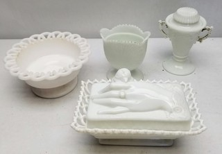 (4) Assorted Milk Glass