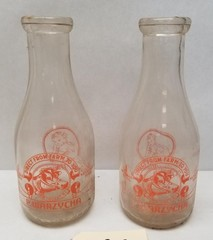(2) Early P. Warzycha Quart Milk Bottles