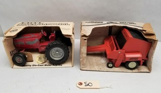 ERTL Row Crop Tractor & Avco Round Baler