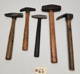 (5) Vintage Wood Handle Hammer Tools