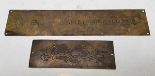 (2) Brass Ship/Boating Plaques
