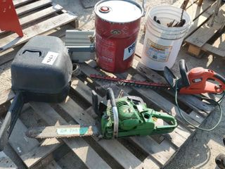 Chain Saws, Hedge Trimmer, Pail, Heater, Tools