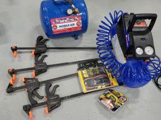 CH Air Compressor, Air Tank, Wood Clamps