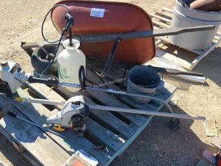 Wheel Barrow, Ryobi Trimmer & Extra Motor,Sprayer