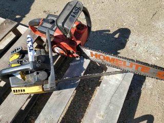 2 Chainsaws, Homelite Chain Saws