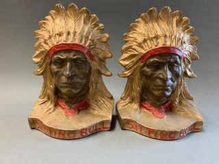 Pair of Antique Cast Iron Sitting Bull Bookends