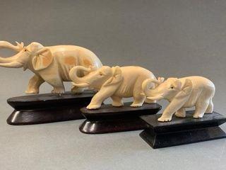 Set of 3 Early Ivory Elephant Carvings