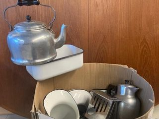 large lot of Enamelware and Kitchen Collectables