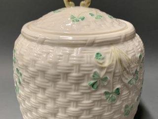 Belleek Cookie Jar with lid