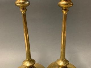 Pair Signed Bradley and Hubbard Brass Candlesticks