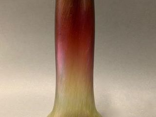 Fine Cylindrical Art Glass Vase Yellow to Rose