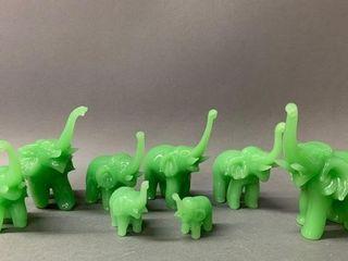 Serpentine Elephant Figurines