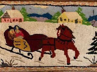 19th Century Folk Art Hooked Rug