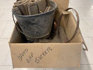 lot of Primitive Wooden Sap Buckets