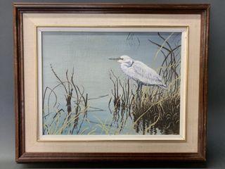 Oil on Board White Egret on Shore