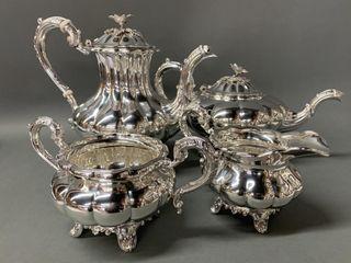 Birks Sterling King George III Melon Style Tea Set