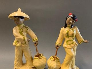 Pair of Hand Decorated Asian Figures