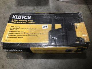 Klutch 2 Tier Welding Cart with Locking Cabinet