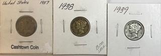 Three Silver Dimes - 1937,1938, & 1939