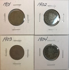 Four Different Liberty Nickels - 1901, 1902, 1903, & 1904