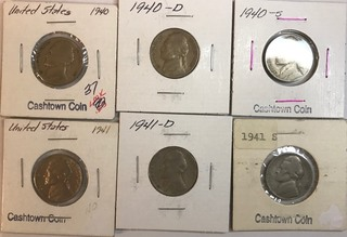 Six Different Jefferson Nickels - 1940 P,D,&S 1941 P,D,&S