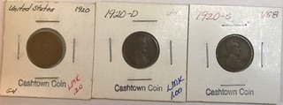 Three Lincoln Wheat Cents - 1920, 1920-D, & 1920-S