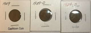Three Lincoln Wheat Cents - 1929, 1929-D, & 1929-S
