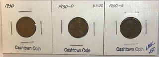 Three Lincoln Wheat Cents - 1930, 1930-D, & 1930-S